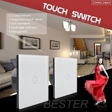 touch screen wall light switch hotel waterproof 1gang 2 way touch screen wall switch crystal glass