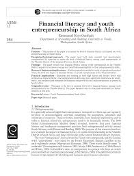 financial literacy and youth entrepreurship in south africa pdf