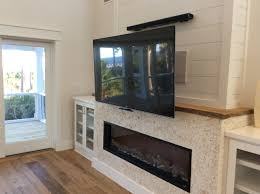 Electric Fireplace Cabinets Not Yet Finished Mantlemount In Down Position Tv Over Linear