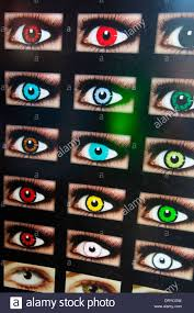 ad showing eyes with colored contact lenses hollywood blvd stock