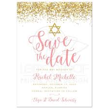 save the date post cards bat mitzvah save the date cards gold glitter look confetti
