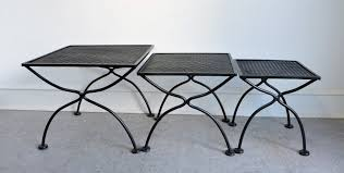 Wrought Iron Patio Furniture For Sale by Salterini Mid Century Modern Wrought Iron Patio Nesting Tables For