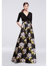 floral dresses dress with bold floral skirt and 3 4 sleeves david s bridal