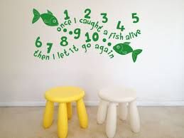 Nursery Rhyme Wall Decals 12345 Once I A Fish Nursery Rhymes Wall Decal Vinyl