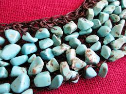 turquoise stone knitting necklace wax thread with red coral u0026 turquoise stone