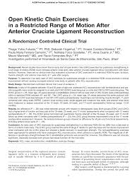 open kinetic chain exercises in a restricted range of motion after