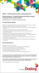 Service Desk Officer Officer Technical Service Desk Dialog Enterprise
