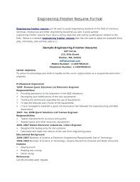 Resume Format For Mechanical Sample Resume For Engineering Freshers Best Resume Format