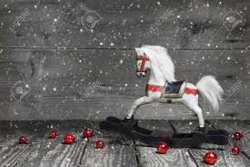 old wooden horse shabby chic or country style christmas