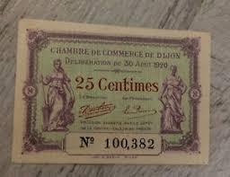 chambre de commerce dijon bon de chambre de commerce de 25 centimes de dijon 1920 ref 2 01