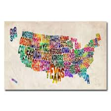Usa License Plate Map by 22 In X 32 In Us States Text Map Canvas Art Mt0167 C2232gg The