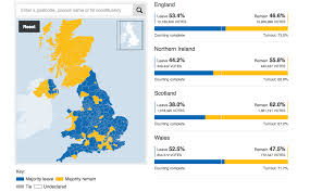 Map Of The United Kingdom Map Of United Kingdom Shows Voter Divide After Eu Referendum