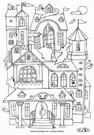 haunted house colouring pages