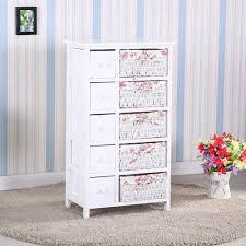 bedroom storage dresser chest 5 drawers w wicker baskets cabinet