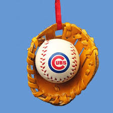 chicago cubs baseball in glove ornament
