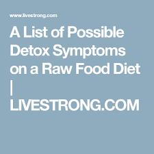 a list of possible detox symptoms on a raw food diet detox