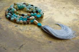 mala beads sky blue bohemian necklace amazonite gemstone