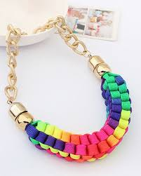 multi color necklace images Chunk chain multicolor knit collar necklace ac0020010 1 jpg