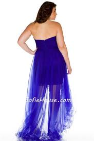 royal blue tulle sweetheart high low royal blue tulle beaded prom dress plus size