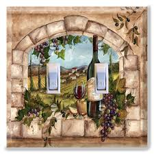 Grapes And Wine Home Decor Light Switch Plate Cover Tuscan Wine Bottle Grapes Kitchen Home