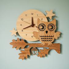 wood nursery wall clock night owl woodland forest animal