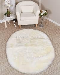Rugs 4x6 Oval Shape Ivory White Sheepskin Area Rug Sheepskin Town