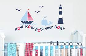 Children Wall Decals Nautical Wall Decal Row Your Boat Wall Decal Set Sailing