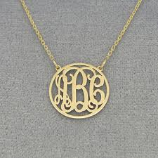 Block Monogram Necklace Small 10kt 14kt Solid Gold Circle Monogram Necklace 5 8 Inch Diameter