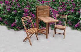Patio Bistro Table Set by Slat Acacia Outdoor Table U0026 Two Chair Set Great For Balconies