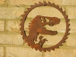 Dinosaur Head Wall Mount Dinosaur Circular Sawblade Rusty Dinosaur Metal Art Garden