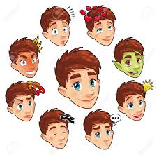 various expressions of boy funny cartoon and vector isolated