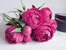 Peony Arrangement Dark Pink Bouquet Peonies Arrangement Wedding Floral Decor
