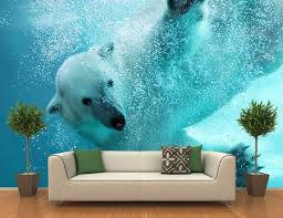 awesome wall mural art photo ideas tikspor polar bear underwater attack wall mural large size polar bear underwater attack wall mural