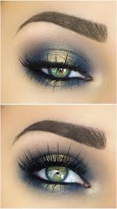 spotlight halo smokey eye in navy blue gold makeup