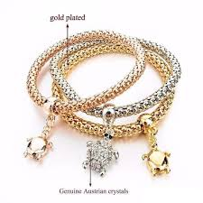 gold plated bracelet charms images Gold plated turtle charm bracelets 3 piece my turtle and i jpg
