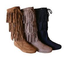 womens fringe boots size 9 womens suede tassel fringe moccasin boots flat layer mid calf