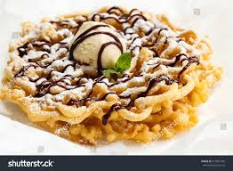 homemade funnel cake topped ice cream stock photo 415901365