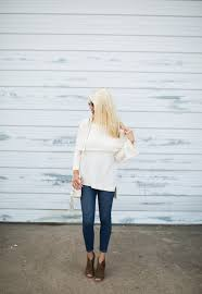 Ivory Off The Shoulder Sweater With Bell Sleeves For Fall