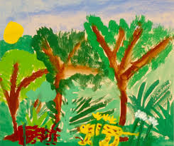 art for small hands in the style of henri rousseau
