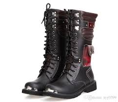 fashion motorcycle boots leather military boots for men combat punk rock man s knee high
