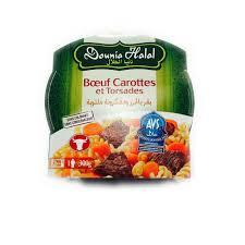 dounia cuisine dounia halal avs boeuf carottes torsades barquette 7x300g plat