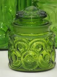 green glass moon u0026 stars pattern kitchen canisters vintage