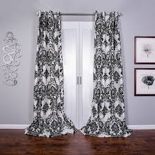 Black And White Bedroom Drapes Amazon Com Venetian Damask Flock Faux Silk Curtain Panel 96 Inch