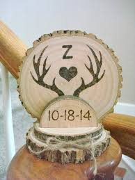antler cake topper custom rustic wedding cake topper wood burned deer antlers