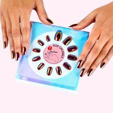 black magic oil slick iridescent press on nails lime crime