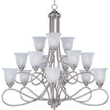 maxim lighting nova 15 light satin nickel multi tier chandelier