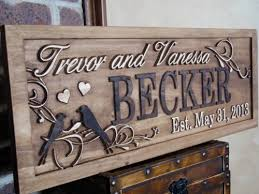 personalized family name signs custom wedding gift carved wooden