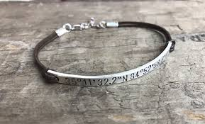 custom silver bracelets personalized bracelet silver leather sterling silver bracelet