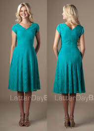 turquoise knee length vintage lace short modest bridesmaid dresses