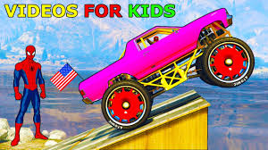 monster trucks videos for kids color monster trucks for kids with spiderman video for toddlers